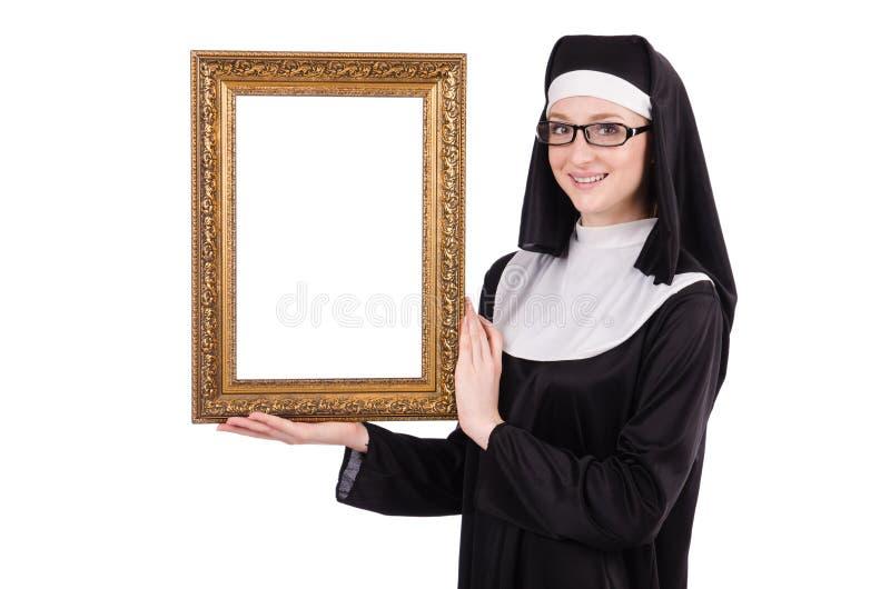 Junge Nonne mit dem Rahmen lokalisiert stockfotos