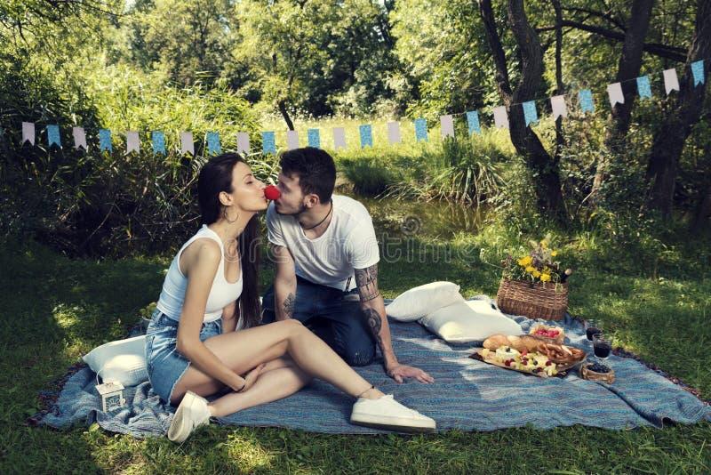 Junge Paare auf einem Picknick in einem Stadtpark, der auf einer Decke sie seine rote Nase des Clowns küssend sitzt stockbild