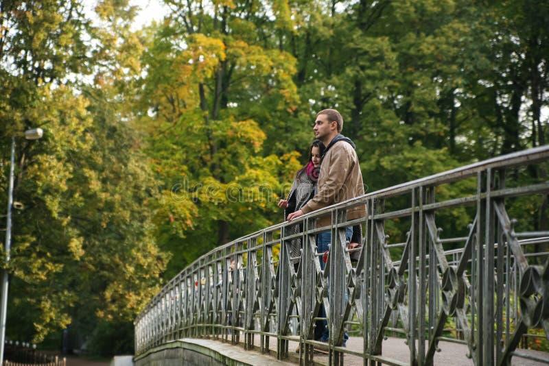 Junge Paare auf einer Brücke im Fall lizenzfreie stockfotografie