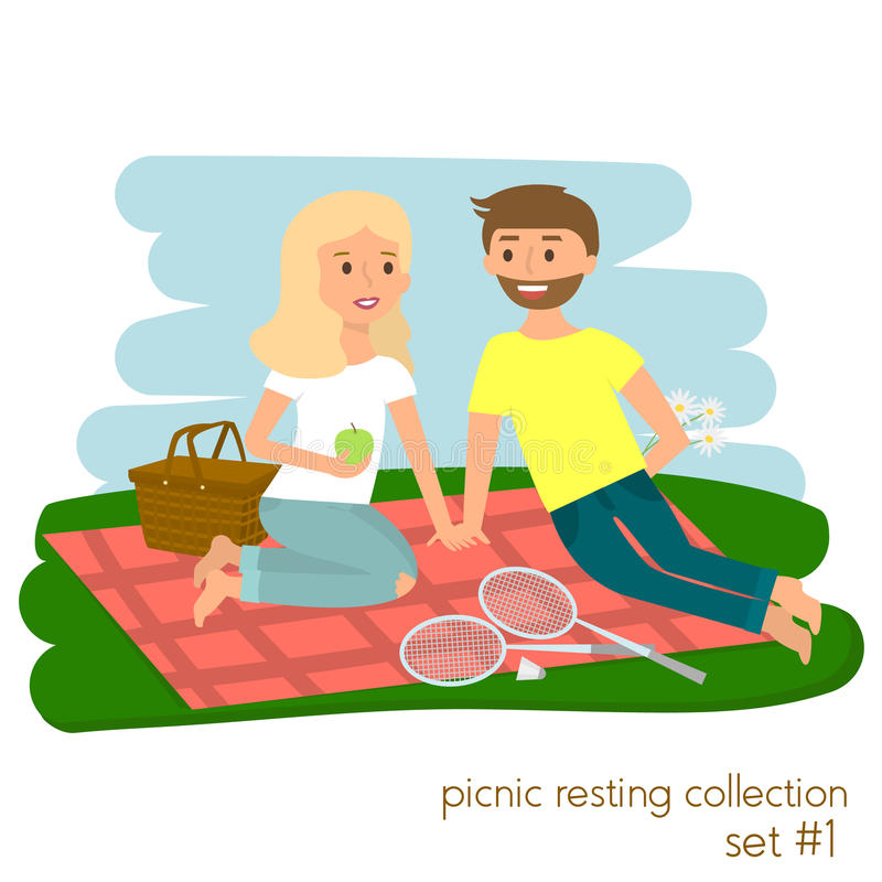 Junge Paare auf Picknick zusammen Familienpicknickferien Glücklicher Lebensstilpark des Sommers draußen Auch im corel abgehobenen vektor abbildung