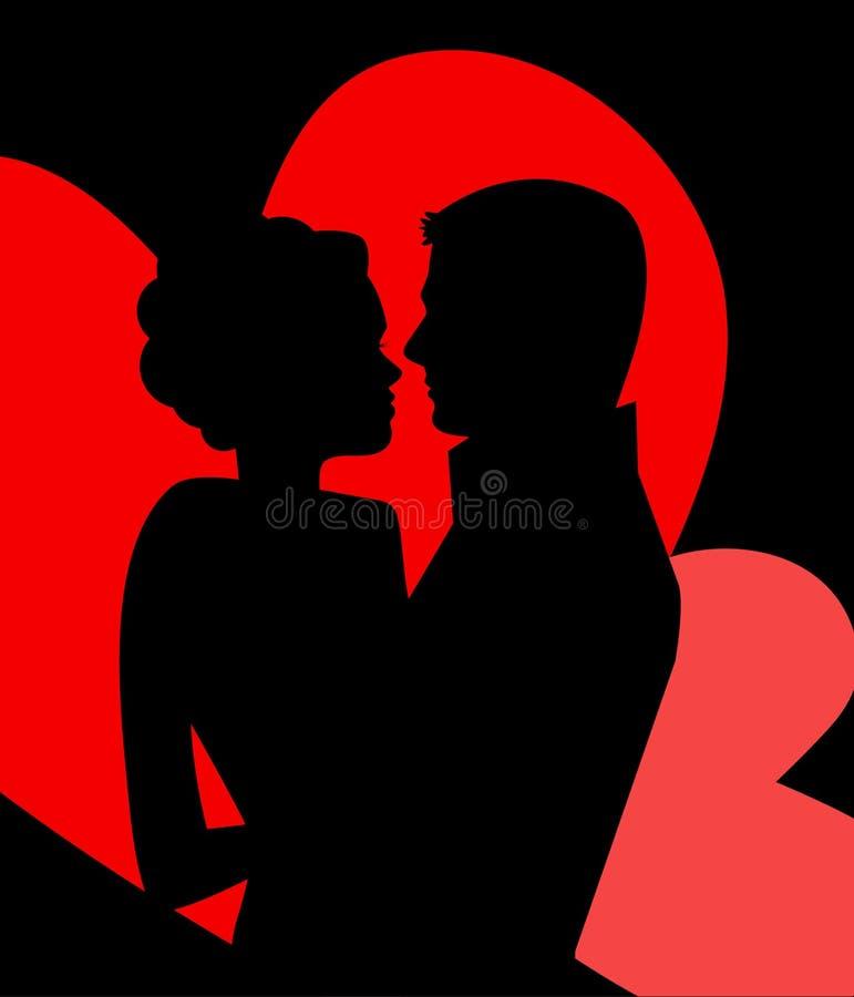 Junge Paare in der Liebe lizenzfreie abbildung