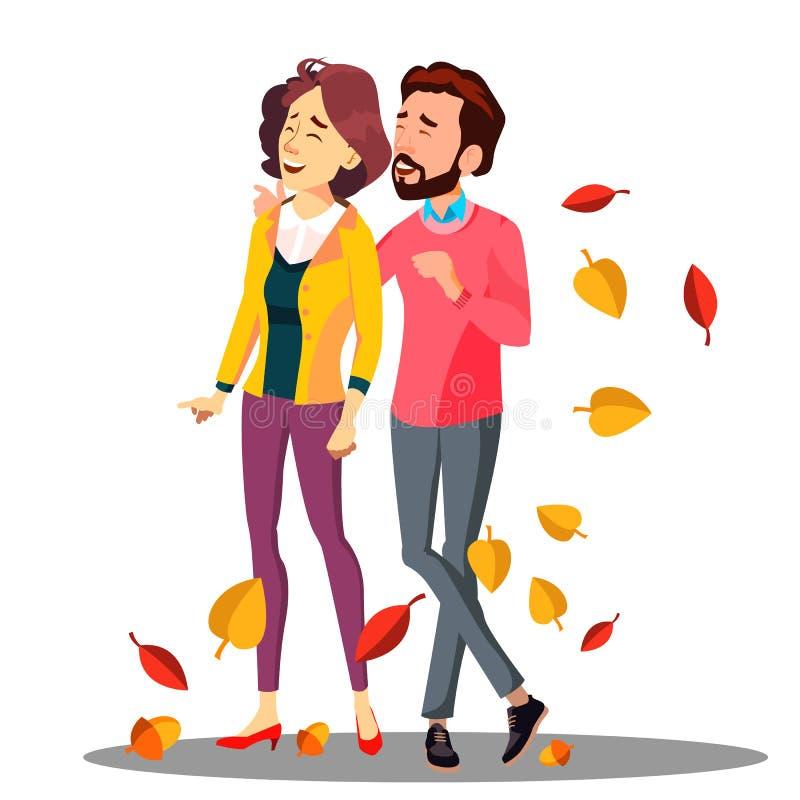 Junge Paare in der Liebe, die unter fallendem Autumn Leaves Vector geht Getrennte Abbildung vektor abbildung