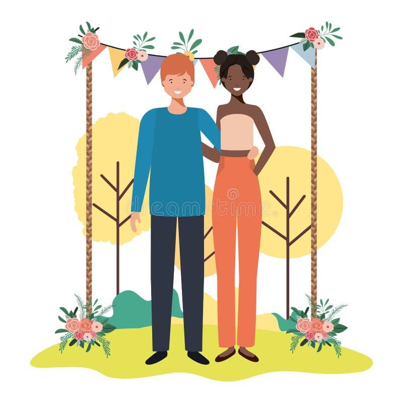 Junge Paare in der Natur lizenzfreie abbildung