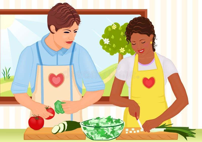 Junge Paare des Mischrennens, die frischen Salat kochen lizenzfreie abbildung
