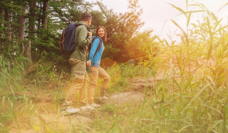 Junge Paare des Wanderers, die in Sommerwald gehen lizenzfreies stockfoto