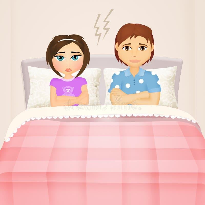 Junge Paare, die auf dem Bett argumentieren lizenzfreie abbildung