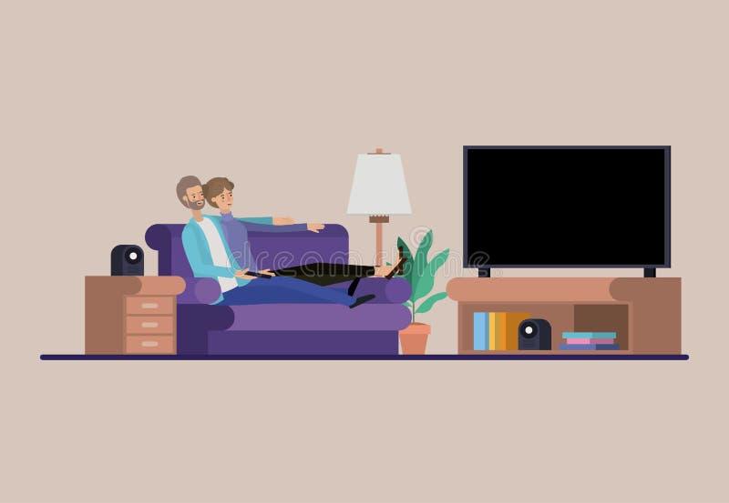 Junge Paare, die auf dem Wohnzimmer fernsehen lizenzfreie abbildung