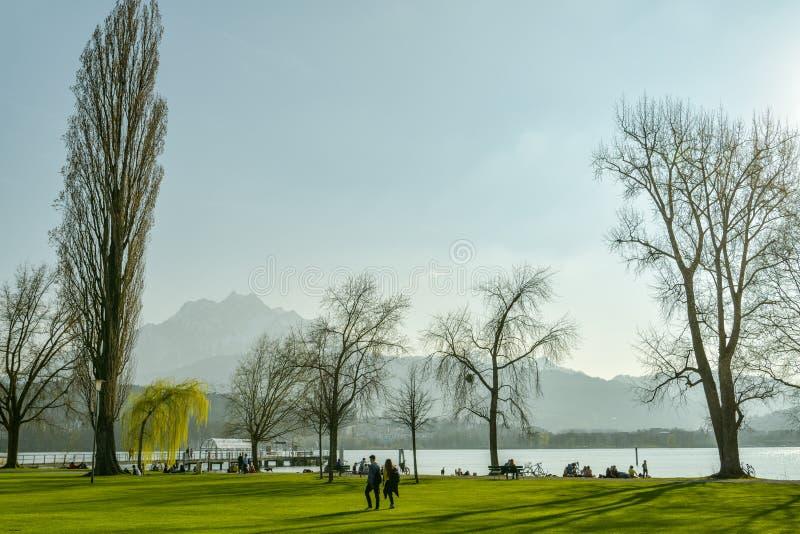 Junge Paare, die auf Gras im kleinen Park auf Ufern von Luzerner See in Luzern gehen stockfoto