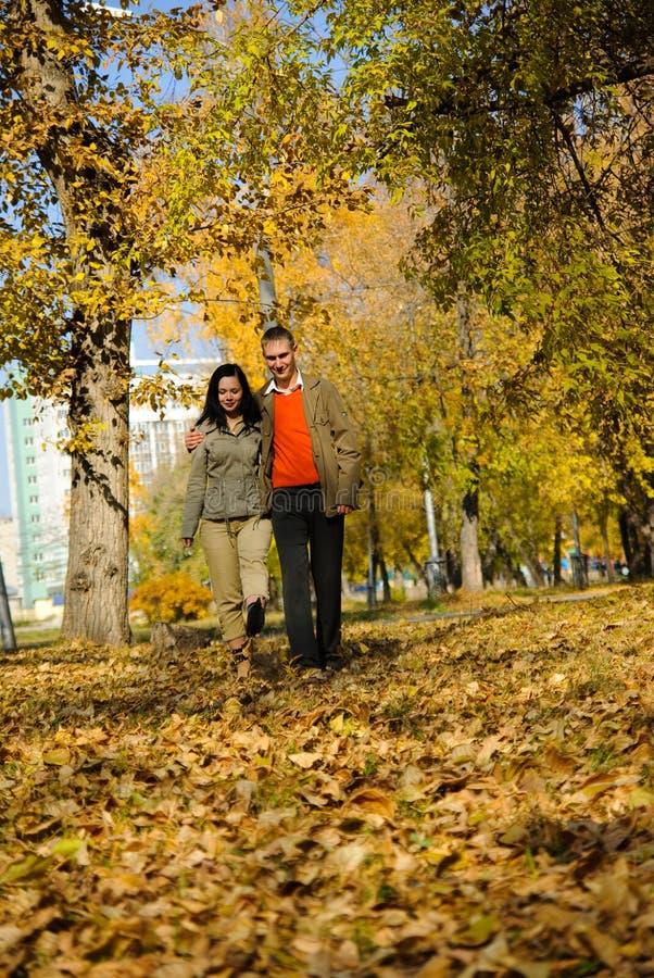 Junge Paare, die in den Park gehen lizenzfreie stockfotografie