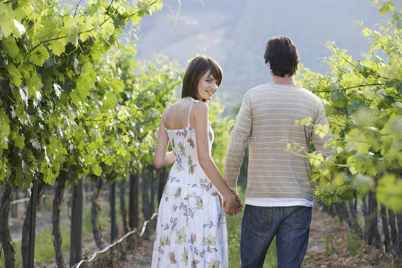 Junge Paare, die durch Wineyard gehen lizenzfreie stockbilder