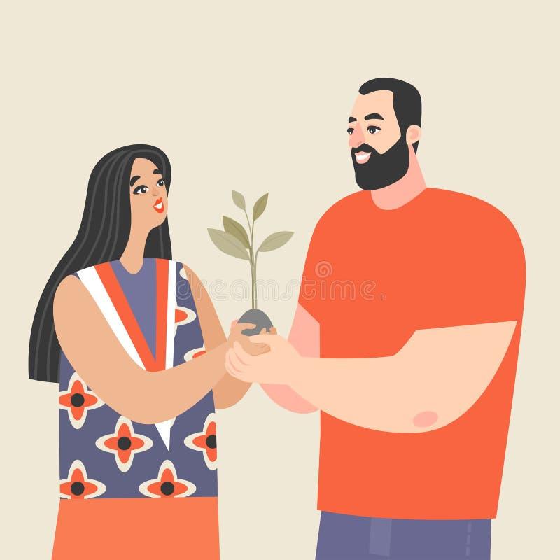 Junge Paare, die einen Schössling und ein Lächeln halten Begriffsbild der Liebe und Entwicklung von Verhältnissen lizenzfreie abbildung