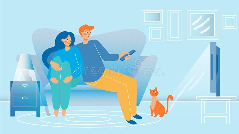 Junge Paare, die Fernsehen vektor abbildung