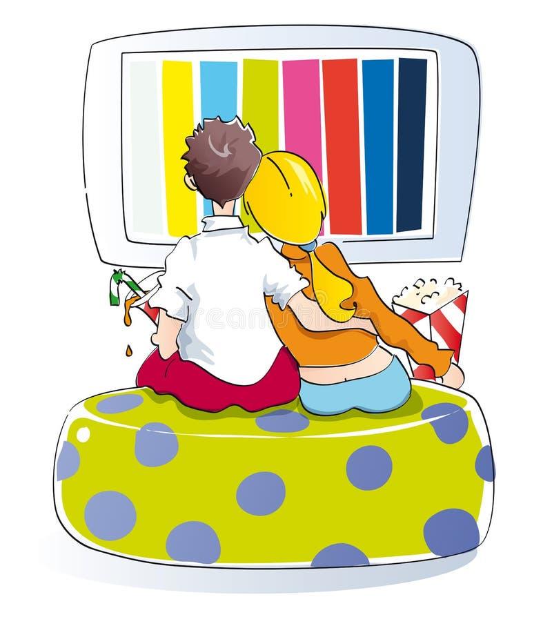 Junge Paare, die fernsehen