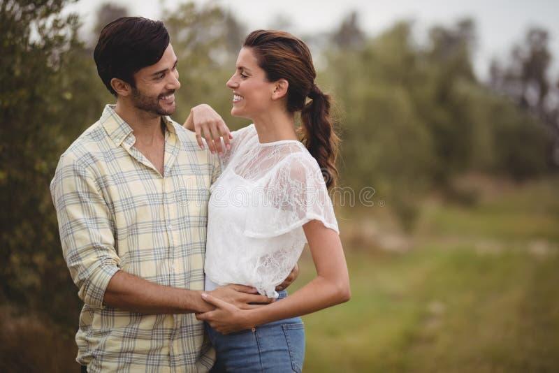 Junge Paare, die am olivgrünen Bauernhof umfassen stockfotografie