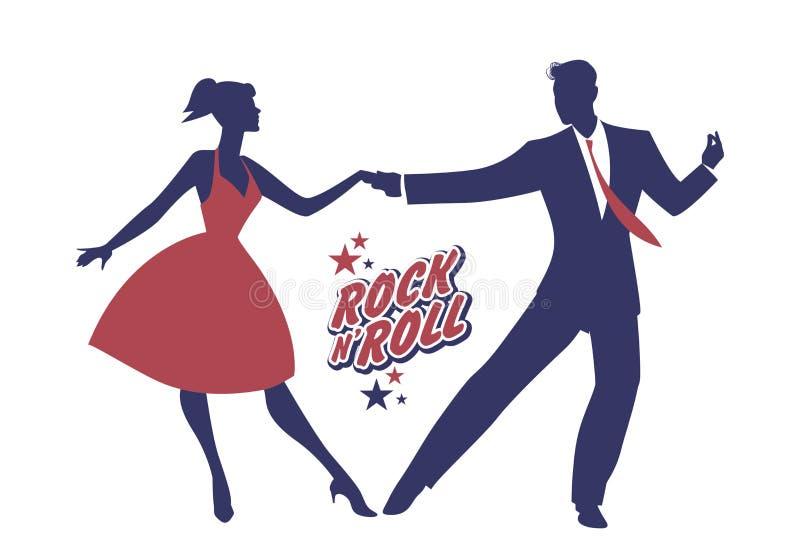 Junge Paare, die 50 ` s Kleidung tanzt Rock-and-Roll tragen Vektor lizenzfreie abbildung