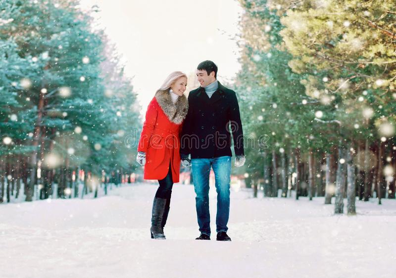 junge Paare, die Spaß beim Gehen im Park des verschneiten Winters habend lachen stockfotografie