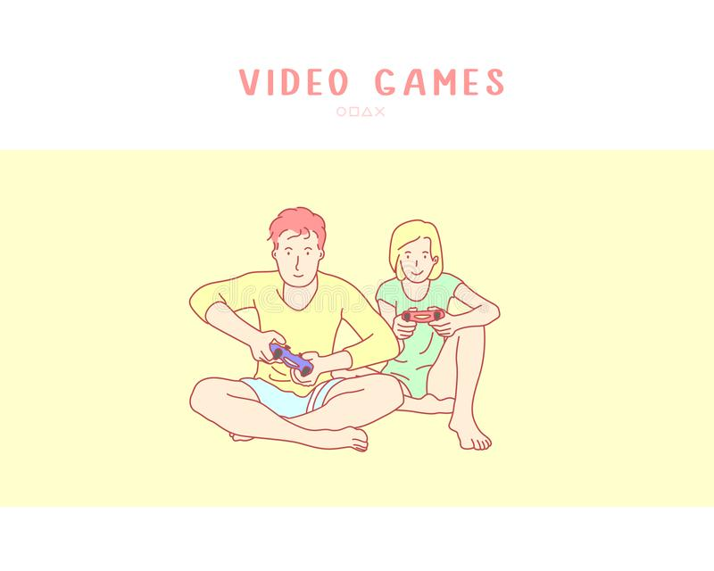 Junge Paare, die Videospiel spielen Handgezogener Artvektor lizenzfreie abbildung