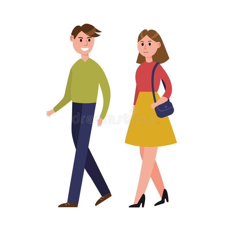 Junge Paare, die zusammen Zeichentrickfilm-Figur-Vektor Illustration gehen vektor abbildung