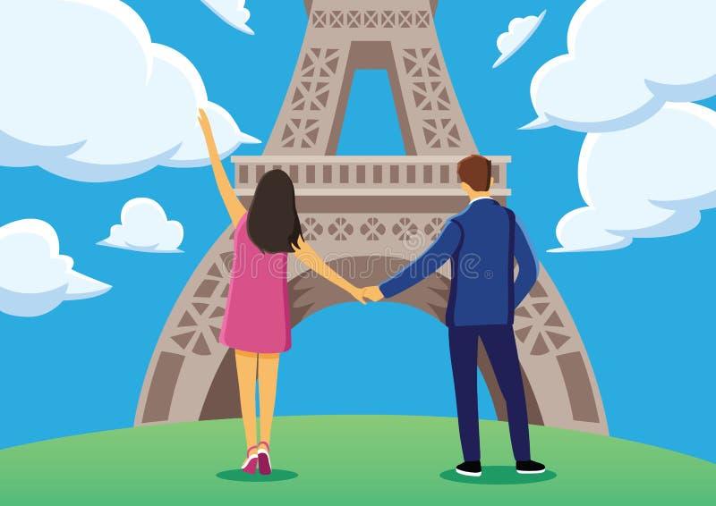 Junge Paare genießen die Atmosphäre im nahen Eiffelturm mit flachem Entwurf des blauen Himmels lizenzfreie abbildung