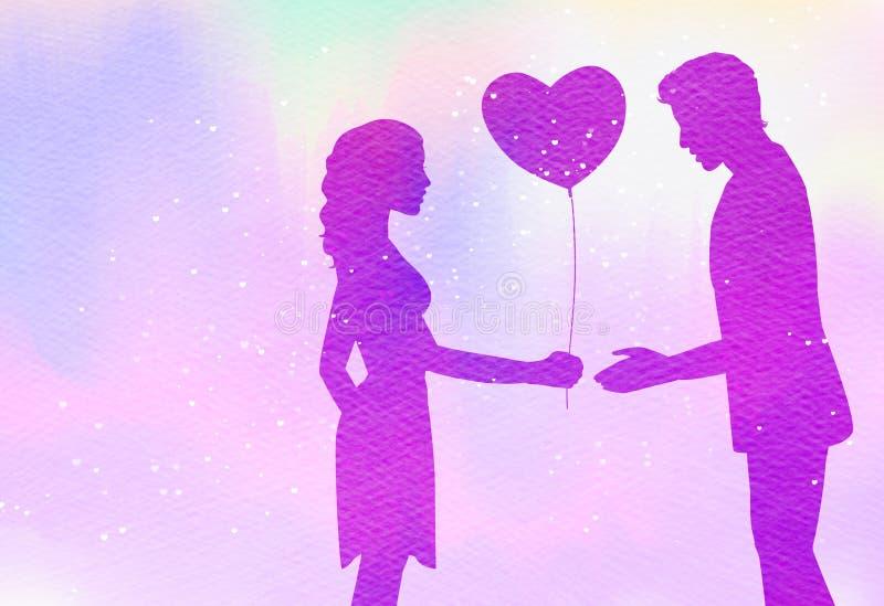 Junge Paare im Liebesschattenbild auf Aquarellhintergrund römisch lizenzfreie abbildung