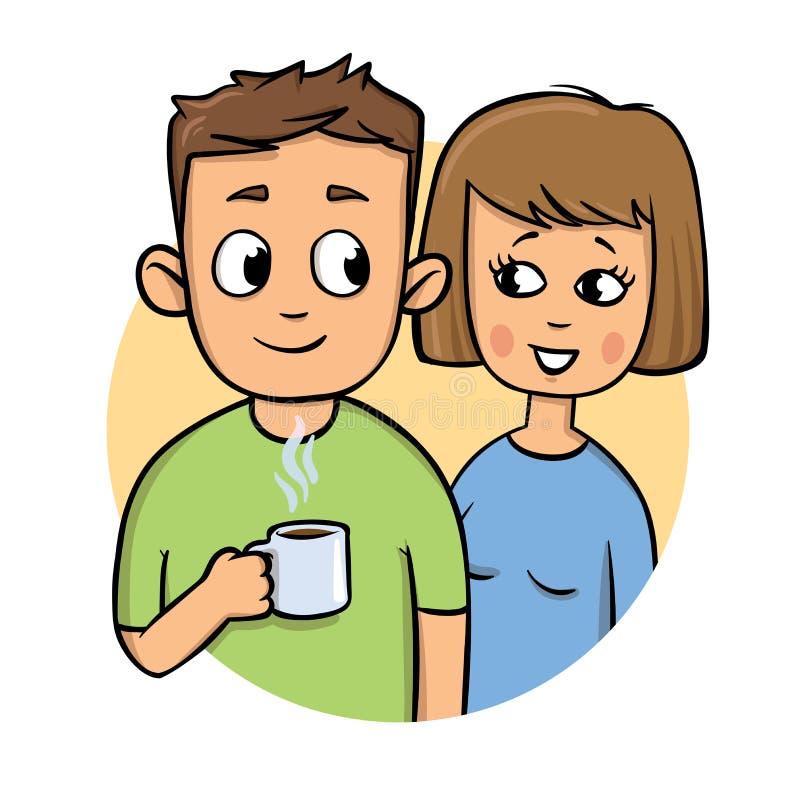 Junge Paare Kerl, der einen Becher, lächelndes Mädchen hält Flache Designikone Bunte flache Vektorillustration Lokalisiert auf We lizenzfreie abbildung