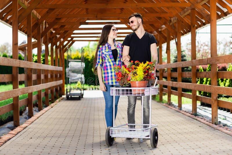 Junge Paare mit einem Wagen voll von verschiedenen Anlagen im Gewächshaus lizenzfreie stockbilder