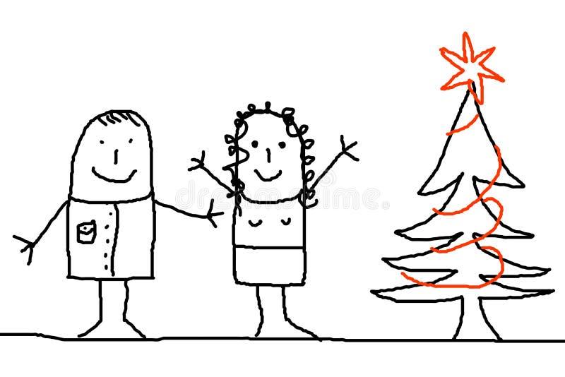 Junge Paare mit Weihnachtsbaum vektor abbildung