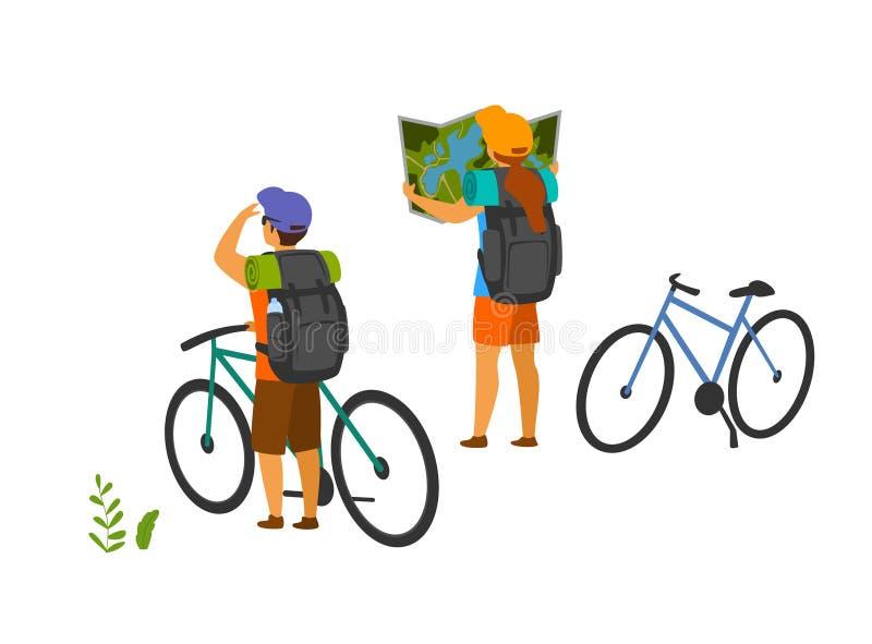 Junge Paare, reisend mit Mountainbiken und suchen den Standort und schauen in der Karte stock abbildung