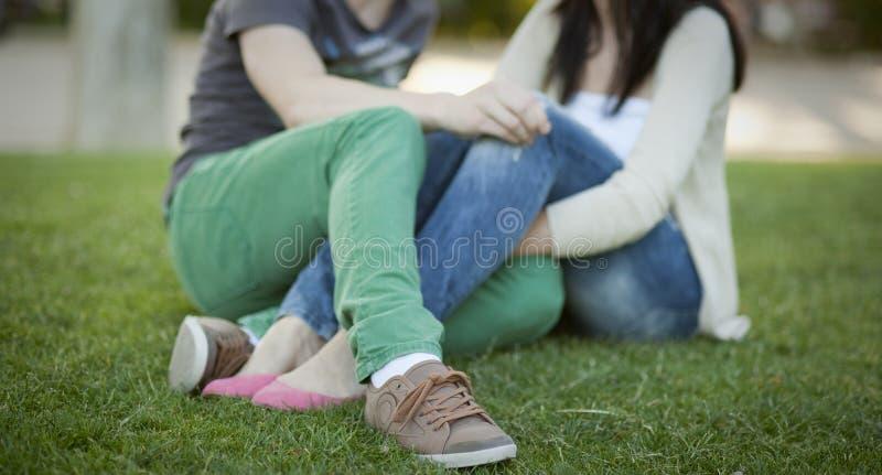 Junge Paare sitted auf dem Gras stockbild