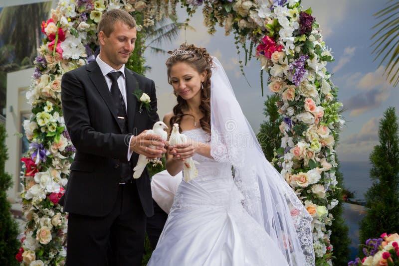 Junge pflegen sich und Braut lizenzfreie stockfotos