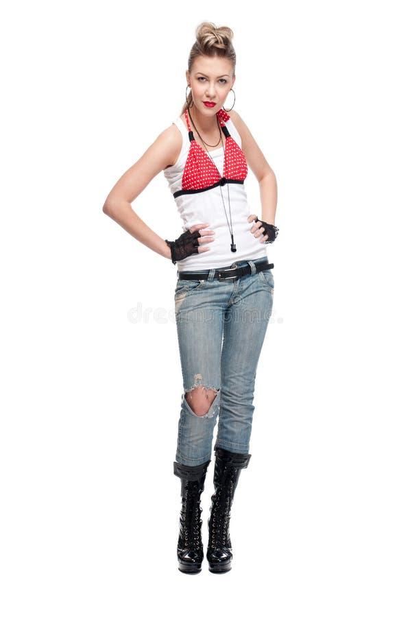 Junge playfull Felsenfrau auf Weiß lizenzfreies stockfoto
