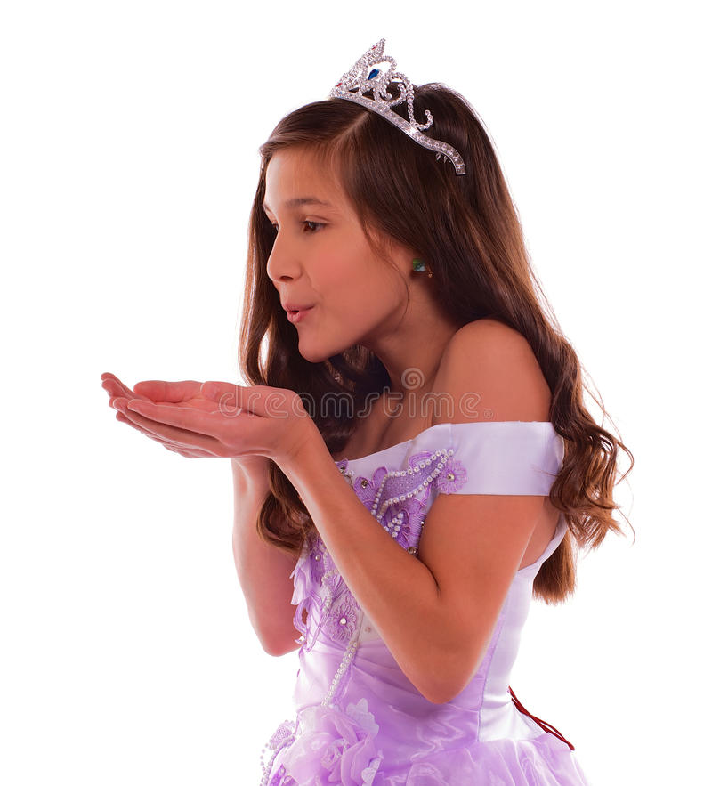 Junge Prinzessin Blowing Dream stockfoto