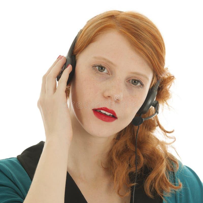Junge Rote Behaarte Frau Mit Kopfsatz Stockbild - Bild von