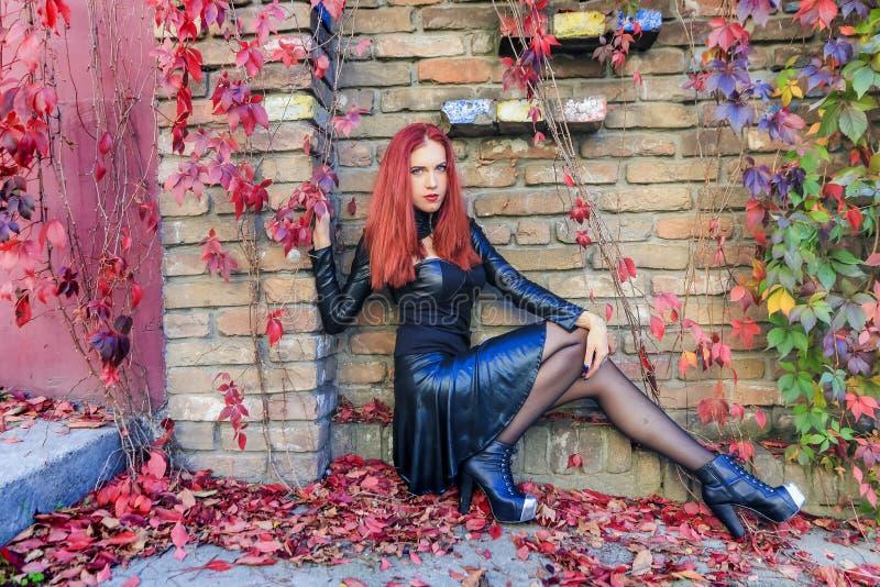 Junge rote gotische Hauptfrau, die an der Unterseite der Backsteinmauer umgeben durch Herbstlaub und bunte Reben sitzt stockfotografie