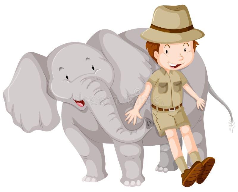 Junge in Safari Ausstattung und Elefanten vektor abbildung