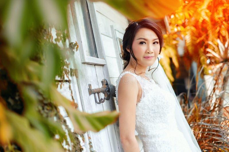 Junge schöne asiatische Braut stockfoto