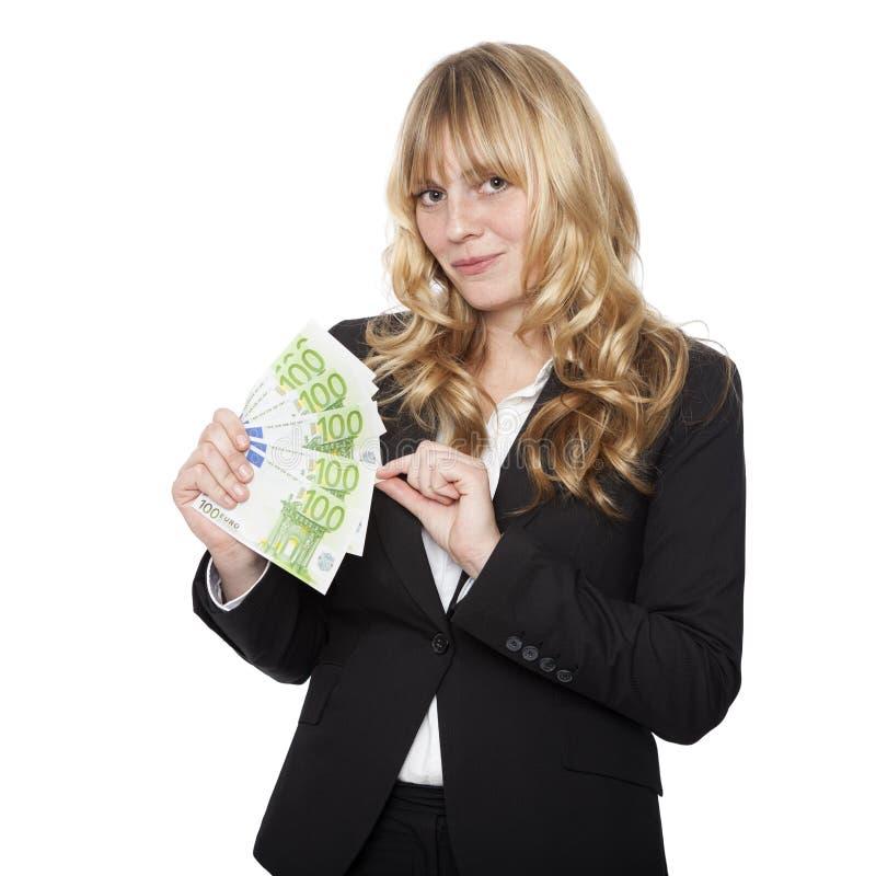 Junge schöne blonde behaarte Geschäftsfrau lizenzfreie stockfotografie