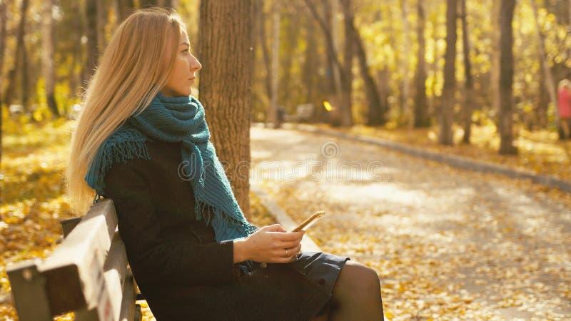 Junge schöne blonde Frau, die auf Bank und Gebrauch Smartphone im herbstlichen Park sitzt lizenzfreie stockbilder