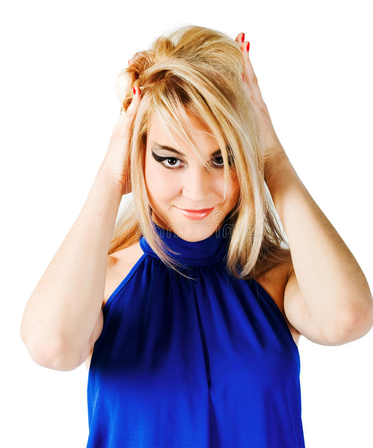 Junge schöne blonde Mädchennahaufnahme lizenzfreie stockfotos