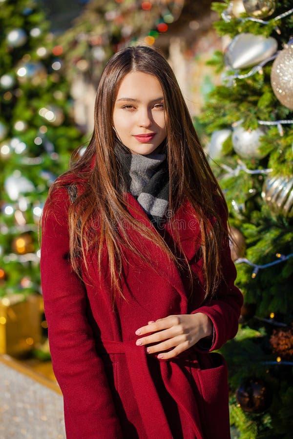 Junge schöne brunette Frau im roten Mantel, der auf Winterpark aufwirft lizenzfreies stockfoto