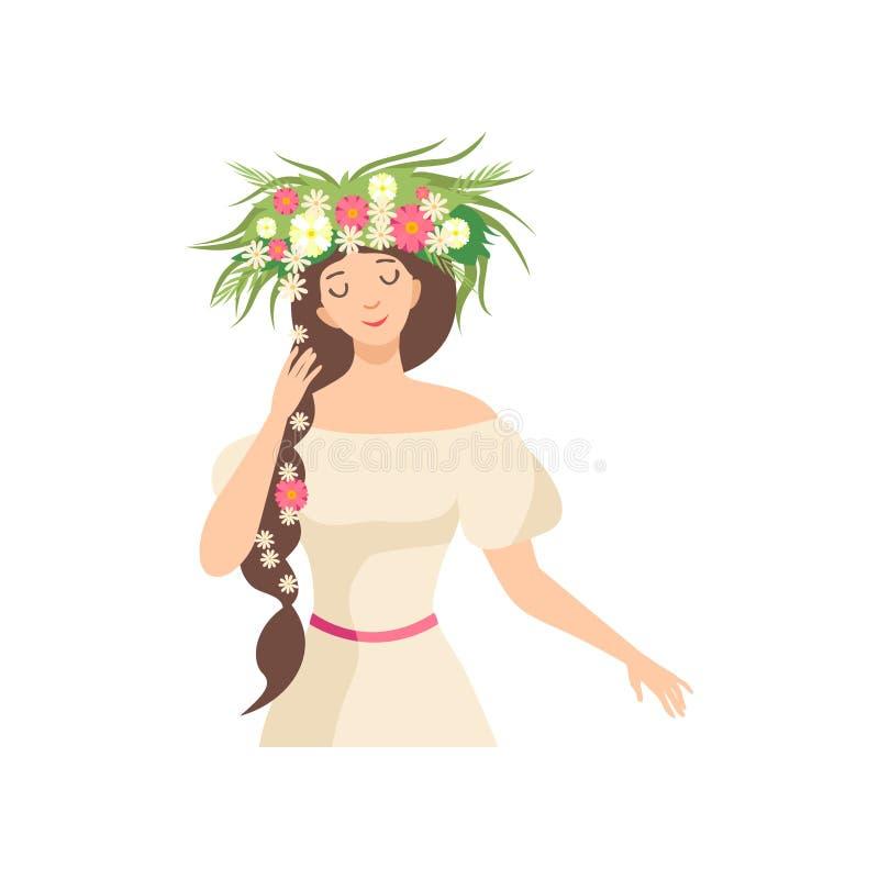 Junge schöne Brunette Frau mit Blumen-Kranz in ihrem Haar, im Porträt des eleganten Mädchens mit Blumenkranz und im Zopf lizenzfreie abbildung