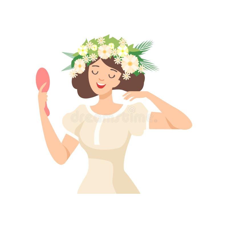 Junge schöne Brunette Frau mit Blumen-Kranz in ihrem Haar, Porträt des glücklichen eleganten Mädchens mit Blumenkranz-Vektor vektor abbildung