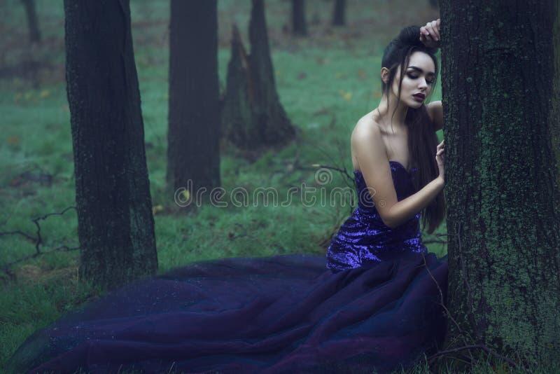 Junge schöne Dame im luxuriösen Pailletteabendkleid, das im mysteriösen nebelhaften Holz sich lehnt auf dem Moos bedeckten Baum s lizenzfreie stockbilder