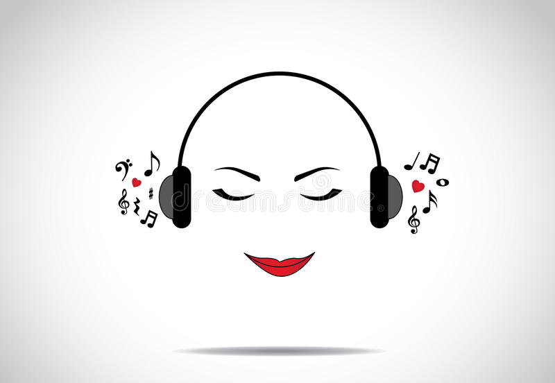 Junge schöne Damen- oder Mädchen- oder Frauenillustration des Hörens große Musik mit geschlossenen Augen vektor abbildung
