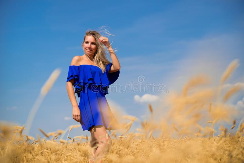 Junge schöne Frau auf dem Weizengebiet stockfoto