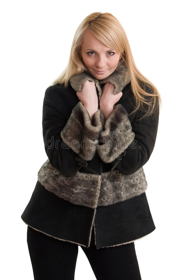 Junge schöne Frau in der Winterkleidung. lizenzfreies stockbild