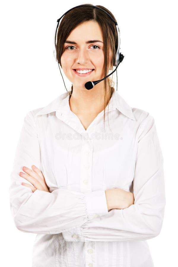 Junge schöne Frau mit einem Kopfhörer stockfotos