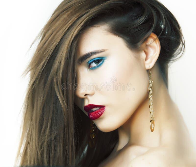 Junge schöne Frau mit hellen Modeschminkhaaren auf Gesicht, Lebensstil Menschen Konzept stockfotos