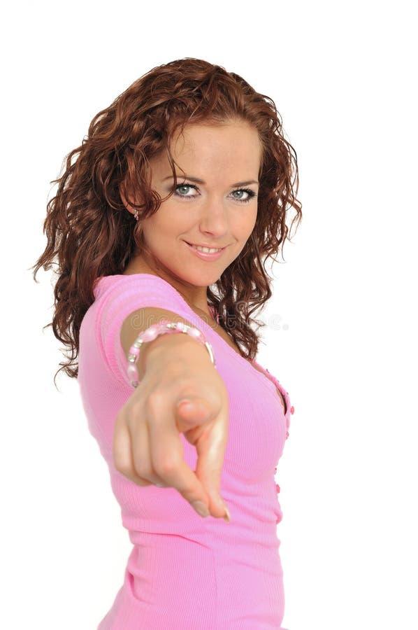 Junge schöne Frauenvertretung lizenzfreies stockbild
