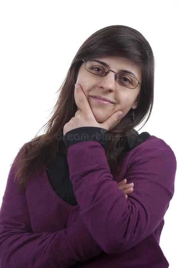 Junge schöne Geschäftsfrau mit Gläsern lizenzfreie stockfotos